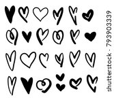 hand drawn hearts collection... | Shutterstock .eps vector #793903339