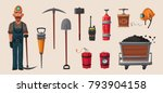 Set Of Mining Tools. Worker's...