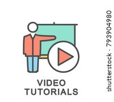 icon video tutorials. a man at... | Shutterstock .eps vector #793904980