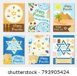 passover set poster  invitation ... | Shutterstock .eps vector #793905424