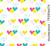 colorful hand drawn hearts... | Shutterstock .eps vector #793906474