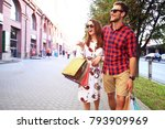 young happy couple with... | Shutterstock . vector #793909969