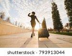 woman stewardess in the uniform ... | Shutterstock . vector #793913044