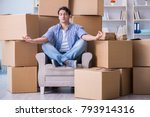 young man moving in to new... | Shutterstock . vector #793914316