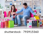 young pair after shopping with... | Shutterstock . vector #793915360