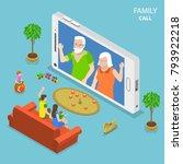 family call flat isometric...   Shutterstock .eps vector #793922218