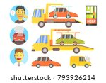 evacuation of the car after the ... | Shutterstock .eps vector #793926214
