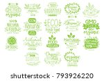 organic food calligraphic label ... | Shutterstock .eps vector #793926220