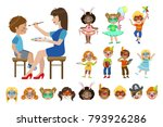kids with painted faces set | Shutterstock .eps vector #793926286