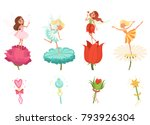set of little fairies hovering... | Shutterstock .eps vector #793926304