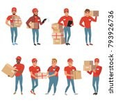 set of postal workers in... | Shutterstock .eps vector #793926736