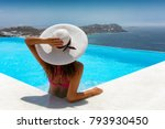 attractive traveller woman... | Shutterstock . vector #793930450