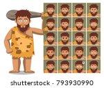 caveman family father cartoon...   Shutterstock .eps vector #793930990