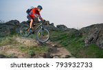 cyclist in red riding the bike... | Shutterstock . vector #793932733