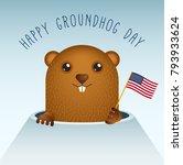 happy groundhog day with... | Shutterstock . vector #793933624
