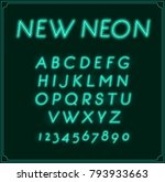 neon italic font type alphabet. ... | Shutterstock . vector #793933663