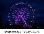 violet ferris wheel illuminated ... | Shutterstock . vector #793933678