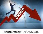 businessman pole vaulting over...   Shutterstock . vector #793939636