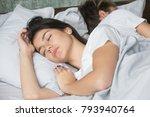 beautiful young woman sleeping... | Shutterstock . vector #793940764