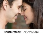 romantic happy couple face to... | Shutterstock . vector #793940803