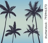 silhouette palm trees background | Shutterstock .eps vector #793941373