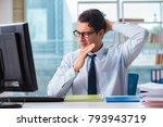 businessman suffering from... | Shutterstock . vector #793943719
