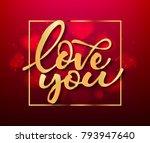 love gold hand drawn brush... | Shutterstock .eps vector #793947640