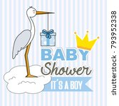 boy baby shower. stork with... | Shutterstock .eps vector #793952338