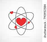 atom with electrons in heart... | Shutterstock .eps vector #793952584