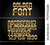 golden glossy vector font or... | Shutterstock .eps vector #793952668