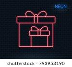 neon light. gift boxes line... | Shutterstock .eps vector #793953190