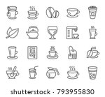coffee and tea line icons. set... | Shutterstock .eps vector #793955830