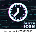 glitch effect. clock time sign... | Shutterstock .eps vector #793955833