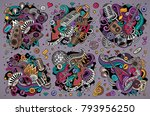 colorful vector hand drawn... | Shutterstock .eps vector #793956250