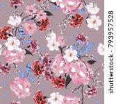 garden. seamless oriental... | Shutterstock .eps vector #793957528