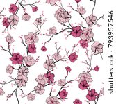seamless pattern with pink... | Shutterstock .eps vector #793957546