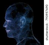 abstract glowing polygonal head ... | Shutterstock . vector #793957690