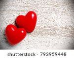 two hearts on white wooden... | Shutterstock . vector #793959448