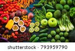 flat lay of fresh  fruits and... | Shutterstock . vector #793959790