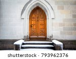 old wooden door with snow in... | Shutterstock . vector #793962376
