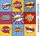 set of comic speech bubbles....   Shutterstock .eps vector #793971478