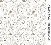 seamless pattern with birds ... | Shutterstock . vector #793972960