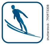 ski jumping emblem. two color... | Shutterstock . vector #793973308