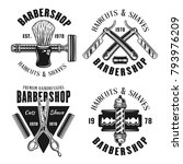 barbershop set of four emblems... | Shutterstock .eps vector #793976209