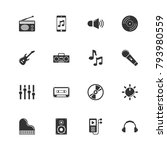 music icons. perfect black... | Shutterstock .eps vector #793980559