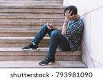 single sad man checking mobile...   Shutterstock . vector #793981090