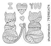 coloring page with two romantic ... | Shutterstock .eps vector #793981474