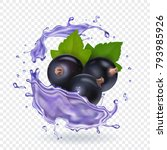 blackcurrant juice splash.... | Shutterstock .eps vector #793985926
