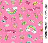 cute dessert patches seamless... | Shutterstock .eps vector #793993300