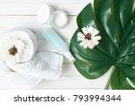flowers  towel  spa  care ... | Shutterstock . vector #793994344